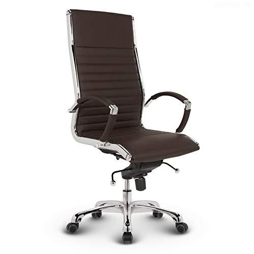VERSEE Design Bürostuhl Chefsessel Montreal - Echt-Leder - braun - Drehstuhl, Bürodrehstuhl, Schreibtischstuhl, Chefstuhl, Designklassiker, hochwertige Verarbeitung, Stuhl, 150 kg belastbarkeit