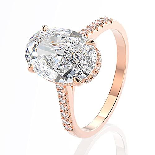 TTGE 925 Anillos de Boda de Plata esterlina Dedo de Lujo Corte Ovalado 3ct Anillos de Diamantes para Mujeres Compromiso joyería de Piedras Preciosas Anel