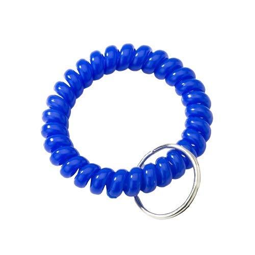 llaveros Moda (10 Paquetes) Llavero de plástico 2.1' Diámetro Espiral de Pulsera de la Bobina de Acero Llavero, muñeca Flexible Banda Llavero de la Pulsera Llavero Regalo (Color : Blue)