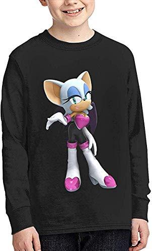 HGdggvd Jugend Jungen & Grils Sonic Rouge Das Fledermaus Freizeit Langarm T-Shirt