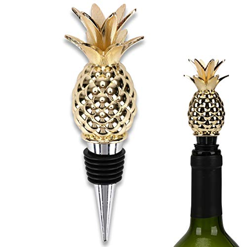 OBALY Pineapple Wine Stoppers, Lovely Zinc-Alloy Storage Stopper, Reusable and Beautiful Golden Decoration for Gifts