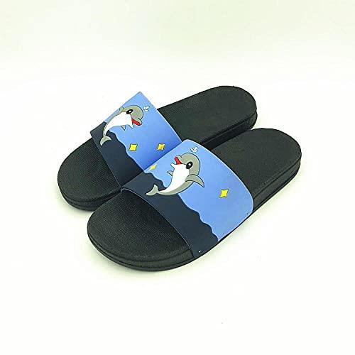 MDCGL Verano Interior Zapatillas Zapatillas de PVC de Ducha de baño de Verano para Mujer, Sandalias Suaves de Punta Abierta Descalzas para jardín Interior Exterior Hombres Negro EU 37