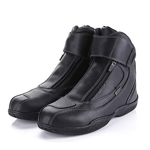 MOTUO Wasserdicht Motorradstiefel aus Leder Winddicht Motorrad Stiefel Tourenstiefel Rider Motocross Schuhe für Damen Herren Winter,Schwarz,41EU