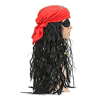 Fun Costumes Realistic Caribbean Pirate Jack Sparrow Black Braids Captain Wigs Headscarf Accessories Sets Halloween Masquerade  Red