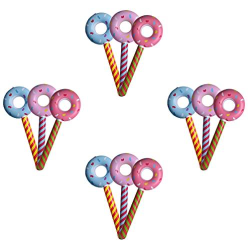 NUOBESTY 12Pcs Gonfiabile Ciambella Lollipops Giocattolo Lollipop Cake Toppers Brithday Partito Favore di Cerimonia Nuziale Decorazione Piscina per Bambini Spiaggia Giocattolo Finta Play