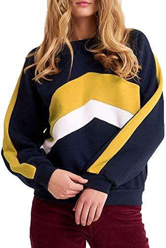 DBM Jersey de mujer para otoño, elegante y festivo, de manga larga, a rayas, cuello redondo, corte ajustado, para exteriores azul oscuro L