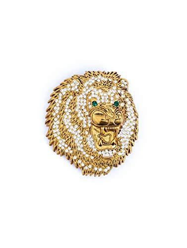 MYINTOX Leopard Crystal Gold – handgefertigte echt vergoldete Damen Brosche, Swarovski®️ Kristalle, Schmuck Anstecknadel, 2 in 1 Ketten Anhänger & Pin, nachhaltiges Accessoire, Altgold Finish