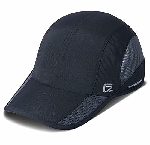 GADIEMKENSD Quick Dry Sports Hat Lightweight Breathable Soft Outdoor Running Cap Baseball Caps for Men, 55-60cm, Schwarz