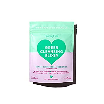 SkinnyMint Green Cleansing Elixir Greens Powder with 22 Superfoods and Active Probiotics Support Digestion and Gut Health Help Boost Immunity.