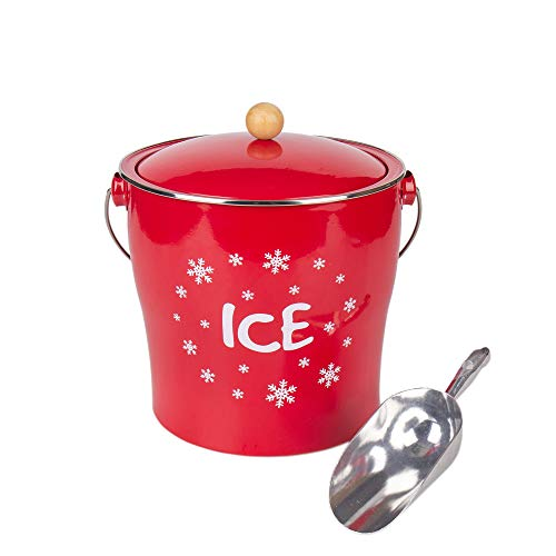 Hot Sale T686A Vintage Red snowflake Christmas theme 4L Metal Double Walled Ice Bucket Set/Home Kitchen Gifts With Lid/wooden Handle And Scoop