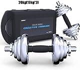 LZMXXQ 20KG (10kg * 2) einstellbares Gewicht mit Verbindungsstange Hantel, verwendete Hantel-Set for...
