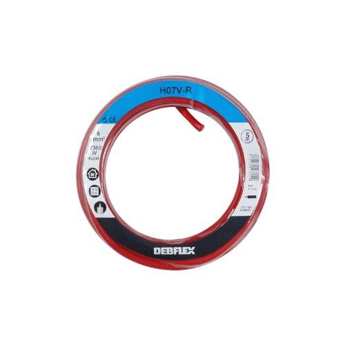 Bobinot de câble - Bobine de fils électrique - Câble électrique - Couronne de câble - Bobinot Cable Rigide 5 mètres H07VR 6 mm ² - Rouge - 113314 Debflex