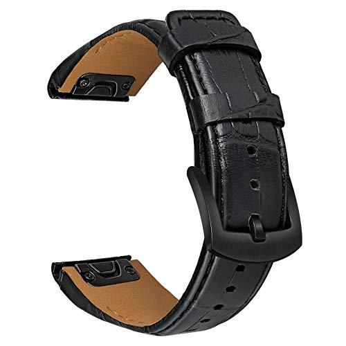 TRUMiRR Reemplazo para Garmin Fenix 6X/6X Pro/Fenix 5X/5X Plus Correa, 26mm Banda de Reloj Easy Fit de liberación rápida Correa de Cuero Genuino Croco Grain para Garmin Fenix 3/3 HR/Descent MK1