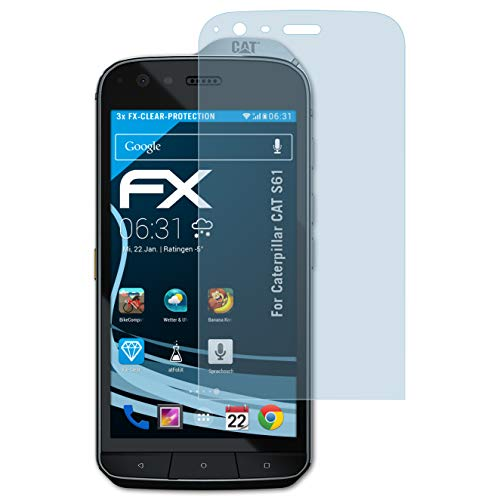 atFolix Schutzfolie kompatibel mit Caterpillar CAT S61 Folie, ultraklare FX Displayschutzfolie (3X)