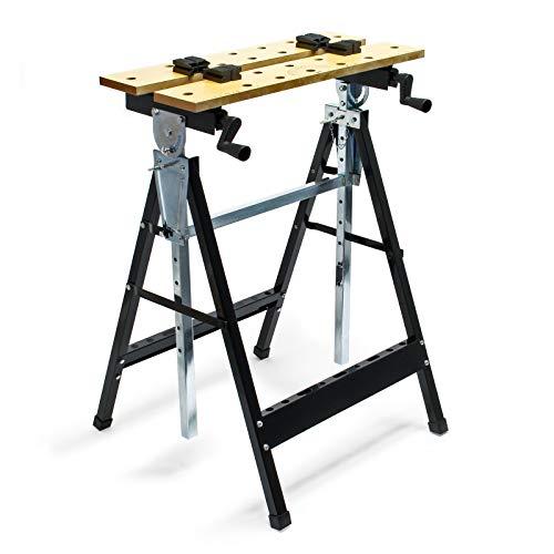 Werkbank klappbar 62,5x60,5x84,5-115,5cm mit Werkzeugablage, Maß- & Winkelskala