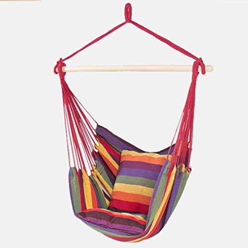 WERT Hangmat schommelstoel met twee extra kussen zachte gewatteerde touw opknoping set tuin opknoping touw hangstoel veranda schommelstoel