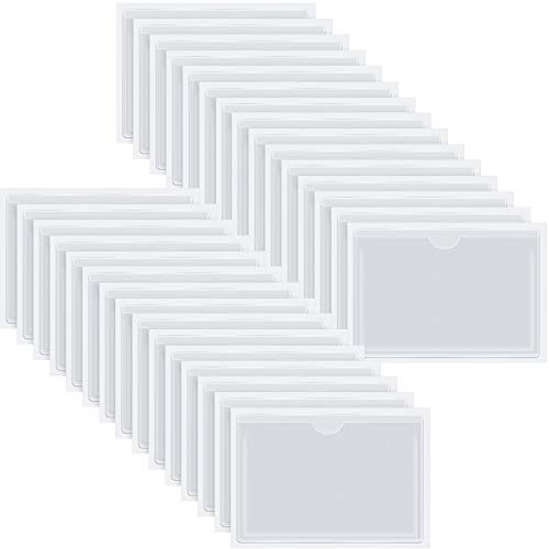 Self-Adhesive Business Card Pockets with Top Open for Loading, Card Holder for Organizing and Protecting Your Cards or Photos, Crystal Clear Plastic (4.3 x 6.3 Inches, 30 Packs)