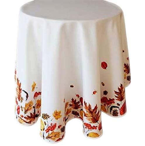 Raebel tafelkleed herfst onderhoudsvriendelijk deken herfstdeken tafelkleed rond wit herfstblad. traditioneel 150 cm Wit, geel, bruin, terracotta en donkerrode tinten.
