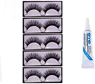 Preyansh False Eyelashes 5 Pcs With 1 Pcs Eyelash Glue (Eye combo)