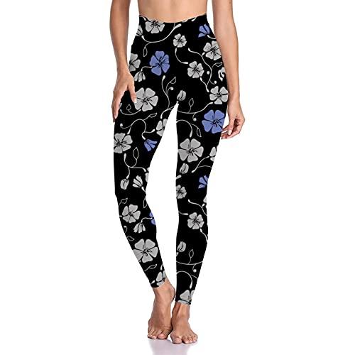 211 Pantalones de yoga de cintura alta, leggings elásticos de flores y caballos para mujer, control de barriga, entrenamiento, correr, leggings XL