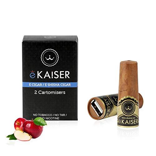 eKaiser Elektronische Zigarre 2er Pack Cartomizer, Apple Flavour, E Zigarre E Shisha Einweg, 30/70 VG/PG Premium-Geschmacksrichtungen, 700 ZÜGE für eKaiser aufladbare Zigarre, Cloud Chaser Vape
