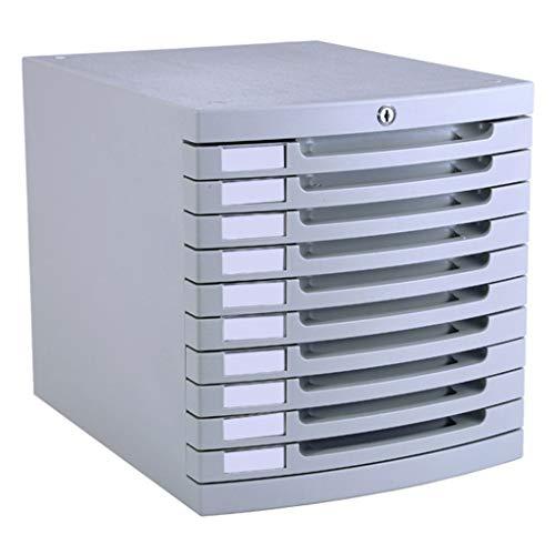 Ablagesysteme Schreibtisch ablagesystem 10 Schubladen mit Schloss Kunststoff hellgrau Aktenschrank 30 * 38 * 31,5 cm Bürobedarf Schreibwaren