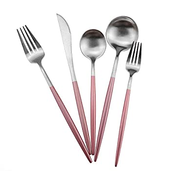 Gugrida Luxury Flatware Royal 5 Piece Matte Pink Handle 18/10 Stainless Steel Tableware Sets for 1 Including Forks Spoons Knives Camping Silverware Travel Utensils Set Cutlery  Pink Silver