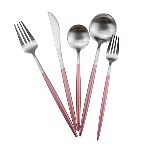Gugrida Luxury Flatware, Royal 5 Piece Matte Pink Handle 18/10 Stainless Steel Tableware Sets for 1 Including Forks Spoons Knives, Camping Silverware Travel Utensils Set Cutlery (Pink Silver)