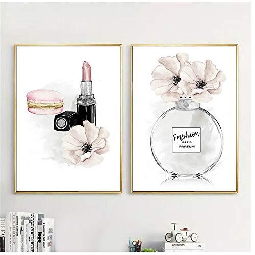 HSFFBHFBH Leinwand Bilder drucken Wandkunst Buch Parfüm Poster und Drucke Mode Lippenstift Make-up...