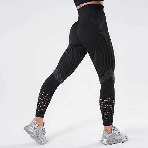 Mallas Leggings Deportivos para Mujer Push Up De Cintura Alta Legging Sexy para Mujer Legging De Entrenamiento Transpirable Sin Costuras M Negro