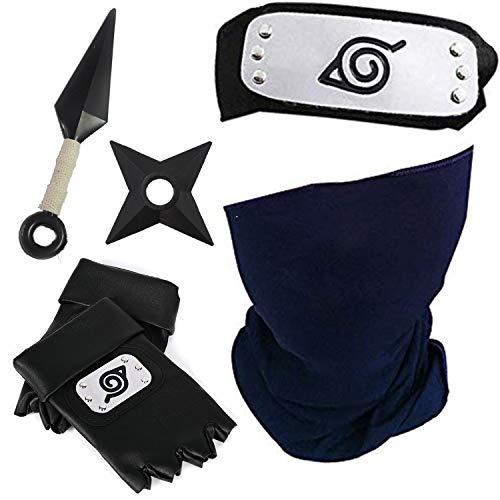 Etitulaire Konoha Naruto Stirnband Metall mit Kakashi Maske + Kunai + Kakashi Sharingan Halskette, Kakashi Cosplay Set (5 Stück Set)