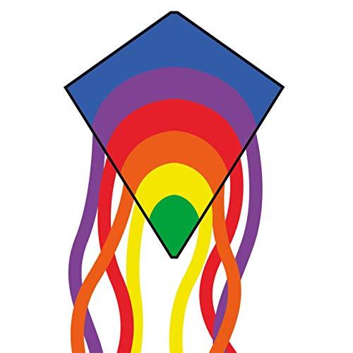 CIM Cerf-Volant monofil - Eddy-S Rainbow - pour Enfants à partir de 3 Ans - Dimensions : 50x56cm - INCL. Ligne de 40 ML et queues