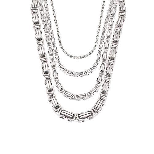 Tribal Spirit Damen Herren Kette Königskette aus hochwertigen Edelstahl Kette Halskette in 5 Varianten Farbe MetalType 50 cm x 6 mm, Farbe Silber