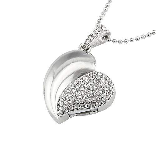 MySixKeen Bijoux en Forme de Coeur en Cristal 32 Go USB 2.0 Lecteur Flash Bling Brillant Diamant Pendentif Collier Lecteur de Pouce Memory Stick Pendrive Argent