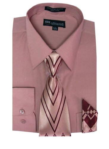 Milano Moda Men's Long Sleeve Dress Shirt With Matching Tie And Handkerchief SG21A, Rosepink, 17'-17.5' Neck 34'-35' Sleeve