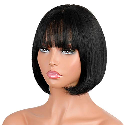 Wigs for Women, REMY BLUE 12inchs Natural Black Synthetic Nylon Hair Bob Wigs for Black Women