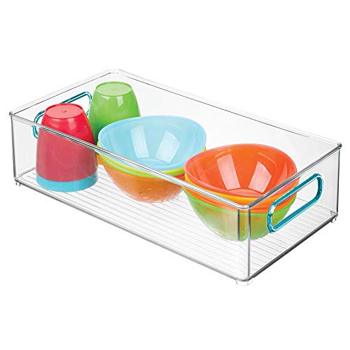 mDesign - Opbergbak voor kinder- en babyspullen - voor keuken, voorraadkast, babykamer, speelkamer - voor snacks, flesjes, babyvoeding - met handvatten/groot/BPA-vrij - 20,3 cm breed/doorzichtig/blauw - doorzichtig/blauw