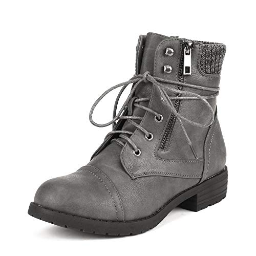DREAM PAIRS Women's Peakk Grey Lace Up Ankle Bootie Size 7.5 B(M) US