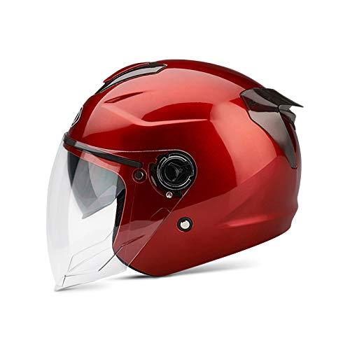 casco scooter omologato donna BOSEMAN Caschi da Moto per Adulti con Visiera. Casco Alla Moda per Biciclette Cruiser Scooter ATV Supera il Test di Collisione per Soddisfare la Sicurezza Stradale(Rosso)
