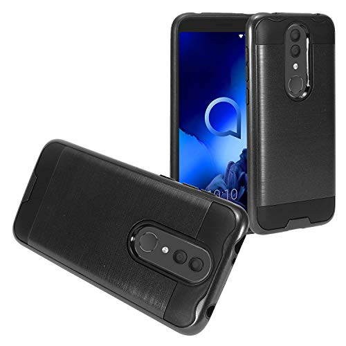 Z-GEN - for Alcatel Onyx 5008R, TCL A1X A503DL - Brushed Style Hybrid Phone Case + Tempered Glass Screen Protector - CS3 Black