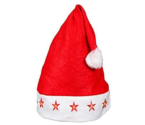 Bonnet de Noel (wm-15) Lumineux avec LED Chapeau de Père Noël pour Adultes Rouge et Blanc en Feutre avec Pompon Taille Unique Accessoire Fête Homme et Femme