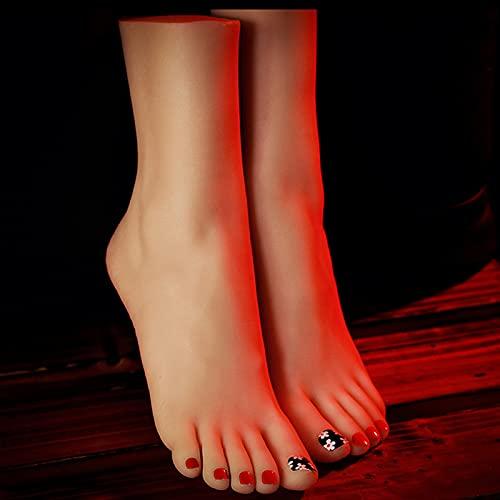 NCBH Pies de silicona para mujer, maniquí de pie, maniquí modelo de pie, silicona Lifesize mujer maniquí niña pie modelo zapatos exhibición arte bosquejo, A2, 36