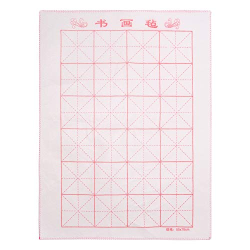 MEGREZ Chinese Calligraphy Drawing Felt Mat, Sumi Xuan Paper Painting Felt Desk Pad with Grids (10 x 10 cm) for Practice Calligraphy Brush Paintings Writing, White - 19.68 x 27.55 inch (50 x 70 cm)