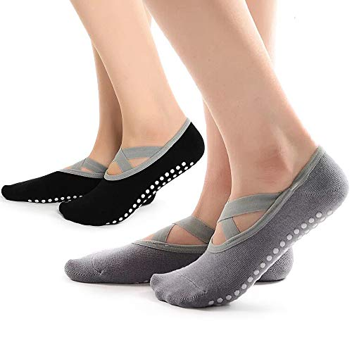 Hually Yoga Socken, 2 Packs rutschfeste Pilates Socken für Damen Grips & Straps, Ideal für Pilates, Pure Barre, Ballet, Dance (Schwarz & Grau)