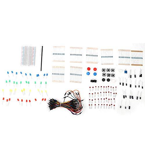 Kit de Componentes Electrónicos con Resistencia de Circuito, Zumbador, Condensador, Placa de...