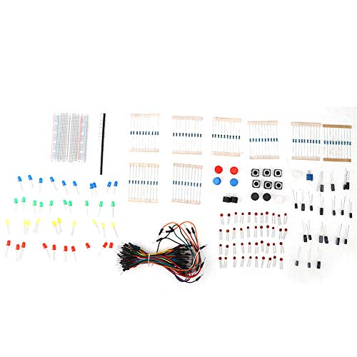 Resistors Capacitors Starter Kit for Arduino, LED Resistor Kit/Ceramic Capacitor/Active Passive Buzzer/Breadboard/Jumping Wire, Electric Component for Beginner Gifts