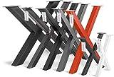 HOLZBRINK 1x Pata de Mesa en Forma de X Perfiles de Acero 60x60 mm, Tamaño 60x72 cm, Gris Antracita, HLT-03-G-CC-7016