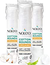 Organic Cotton Rounds Compatible with Makeup Products, Eye Makeup Remover Pads and Baby Wipes, Small, 300 Count - Noleo