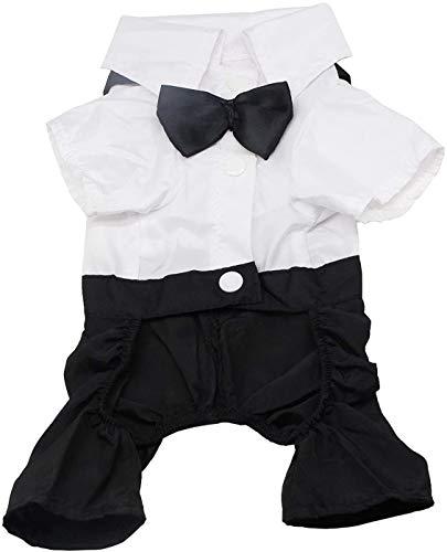 QiCheng & LYS Ropa para Perros Traje Elegante con Estilo de Corbata de moño, Camisa de Esmoquin Formal con Traje de Corbata Negra (XL)