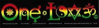 One Love - Logo with Symbols in Rasta/Reggae Colors - Bumper Sticker / Decal